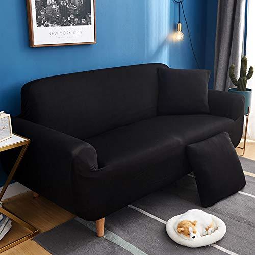 Xiaobyyao All-Inclusive-Universal-Volltonfarbe rutschfest DREI Personen 190-230cm schwarz,Stück Stretch Sofa Couch Bezüge Spandex Printed Couch Schonbezug - Sessel Sesselbezug