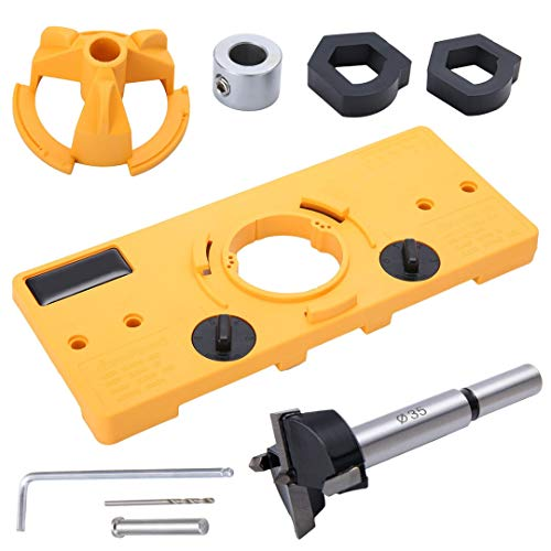Mintus 35MM Cup Style Hinge Drill Boring Guide Door Hole Opener Locator Jig Drill Set DIY Tool for Woodworking