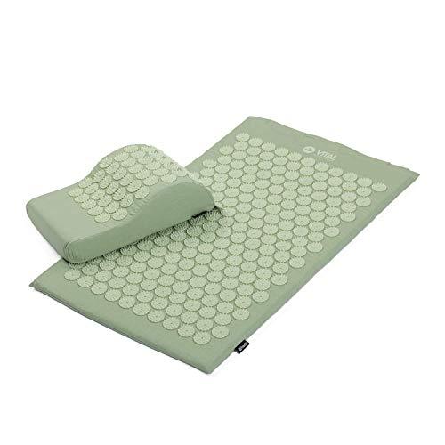 BODHI Akupressur-Set Vital: Akupressurmatte (74 x 44cm) & Akupressurkissen | inkl. Tasche | zur Selbstmassage, Entspannung & Förderung der Durchblutung (pastellgrün)