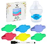 Baby Bottle Labels for Daycare – 6 Multi-Colored Unique Panda-Shaped Reusable Silicone Name Labels Fit Popular Bottles and Sippy Cups – Includes Waterproof Marker to Denote Names, Dates and Contents
