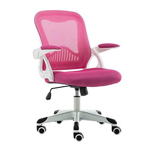 Silla de Oficina Silla de Escritorio de Malla con reposabrazos y Respaldo Ajustables, Mecanismo de inclinacion Sincronizada, rotacion de 360 Grados-Pink