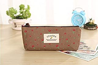 Cute Kawaii Floral Flower Canvas Zipper Pencil Cases Lovely Fabric Flower Tree Pencil Pen Bags School Supplies Korean Stationery Large Capacity Creative Pencil case (Color : Coffee)