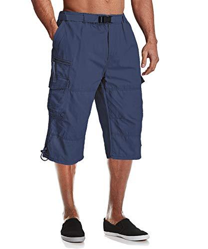 MAGCOMSEN Männer 3/4 Hosen Baumwolle Kurz Sommerhose Army Hose Herren Cargo Taschen Stoffhose Outdoor Leichte Arbeitshose Lässige Kurze Hose mit Multi Taschen Dunkelblau 34