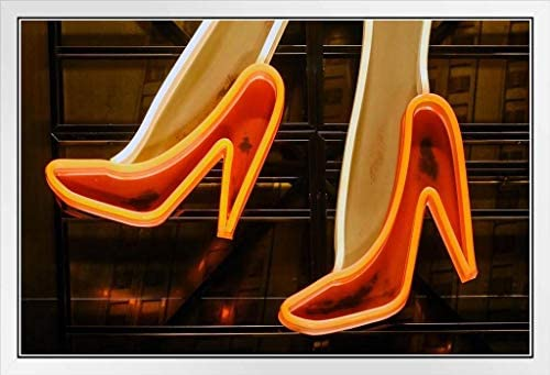 Red High Heels Illuminated Vintage Neon Sign Photo Art Print Poster 18x12 inch