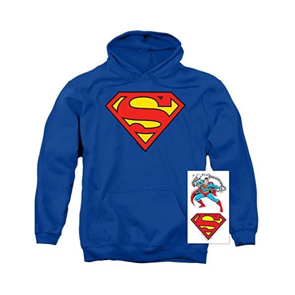 Superman Classic Logo Pull-Over Hoodie Sweatshirt & Stickers