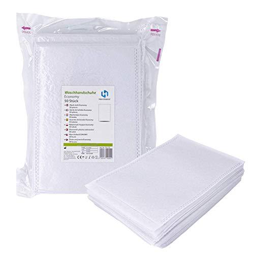 1000 Stück Einmalwaschlappen Economy Weiß | Soft Vliesstoff | saugfähig & sanft zur Haut | Einwegwaschhandschuh Waschlappen ideal für Hygienebereiche - wie Babypflege, Pflegedienste, Kosmetik uvm.