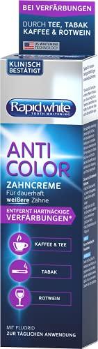 Rapid White Anti Color Toothpaste, 75 ml, Whitening-Zahnpasta für weißere Zähne, Zahnaufhellung für Zuhause, ohne Wasserstoffperoxid