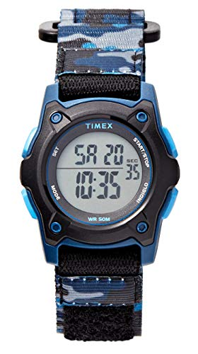 Timex Boys TW7C77400 Time Machines Digital Black/Blue Camouflage Fast Wrap Strap Watch