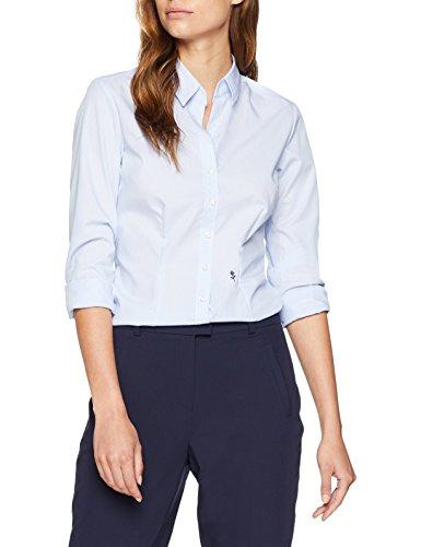 Seidensticker Damen Hemdbluse Langarm Slim Fit Gemustert Bügelfrei Bluse, Blau (Hellblau 11), 40 CM