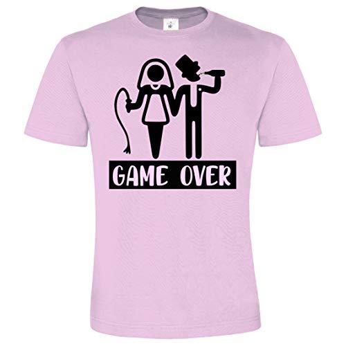 Camiseta Despedida Soltero. Game Over de Color para Grupos de Amigos (Morado, L)
