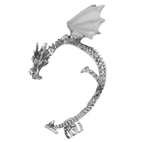 Holibanna Dragon Ear Wrap Glowing Dragon Ear Cuffs Luminoso Clip Pendientes Punk Resplandor en La Oscuridad Pendientes Regalos para Hombres Mujeres Plata