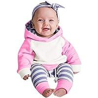 Ropa bebé, 3pcs Conjunto de Ropa para bebé niñas Sudadera con Capucha Tops+ Pantalones + Diadema Conjunto de Trajes 0 Mes - 2 Años (Rosa Caliente, Tamaño:12 Mes)