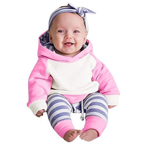 PPangUDing Baby Jungen Mädchen Bekleidung Set,2019 Neue Langarm Baumwolle Patchwork Kapuzenpullover Tops + Streifen Hosen + Schöne Haarband 3 Stücke Unisex Warm Outfits Set (0-3M,Pink)