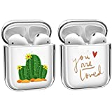 [2Pack] Crystal Clear Protective TPU Cover Compatible with Apple AirPods 1/2 Wireless Charging Earphone Protective Cover, [Front LED Visible] Anti-dust Hard Case Cover Protector- Cactus+Loved