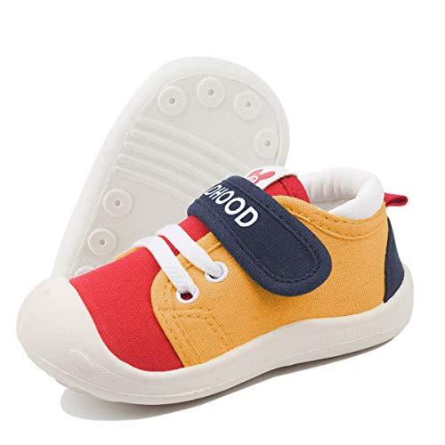 DEBAIJIA Bebé Primeros Pasos Zapatos 1-4 años Niños Niñas Infante Suave Suela Antideslizante Lona Ligero Deportivas 22 EU Amarillo Rojo (Tamaño de la etiqueta-19)