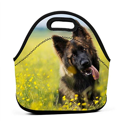 Cute German Shepherd Puppy Insulated Neoprene Lunch Bag Tote Handbag lunchbox Food Container Gourmet Tote Cooler warm Pouch For School work Office