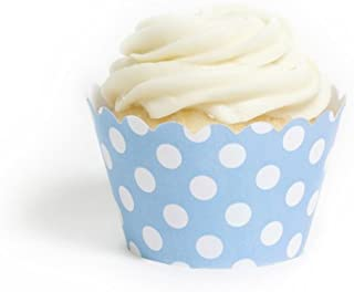 Dress My Cupcake Sky Blue Polka Dot Cupcake Wrappers, Set of 12