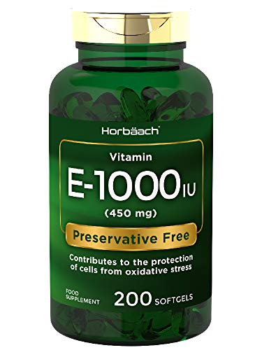 Vitamin E 1000IU | 200 Softgel Capsules | High Strength Antixoidant | Non-GMO, Gluten Free Supplement