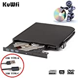 External DVD Drive Burner Player for Laptop USB3.0 Type-C Dual interfaces Portable Slim