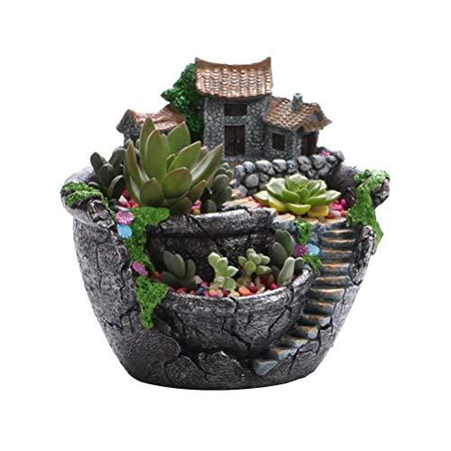Creativo Vaso di Fiori Vaso per Piante succulente Decorato con Mini Giardino fatato e Dolce casa per Regalo di Decorazione del Giardino di casa Ufficio