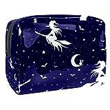 Bolsa de cosméticos para mujer con bruja voladora en escoba y murciélagos, bolsas de artículos de tocador de viaje, bolsas grandes de PVC para maquillaje, práctica bolsa organizadora con cremallera
