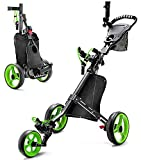 JINLLY Golf Push Cart, Folding Golf Carts with Foot Brake, Collapsible Lightweight Golf Pull Carts with Umbrella Holder, Cup Holder, Scoreboard Bag for Golf Bags