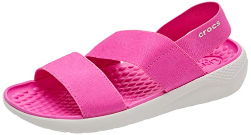 Crocs Women's LiteRide Stretch Sandals Water Shoes, electric Pink/Almost White, 10 M US