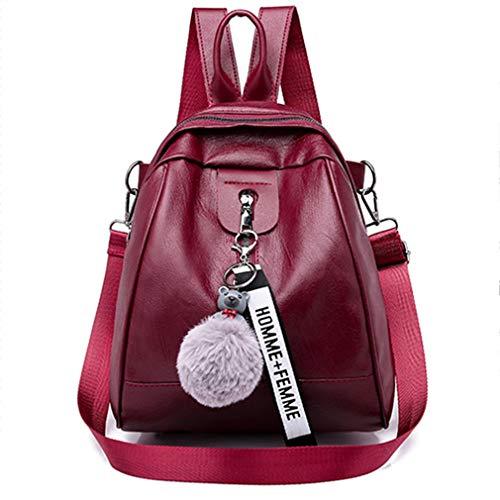 JIE Female Durable Women Mini Simple Leisure Small Smooth Zipper Handbag Backpack Wine Red