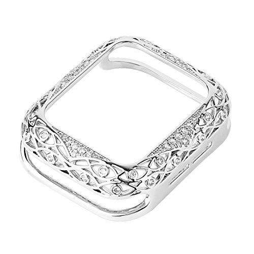 PGGFA Cubierta Tallada de Metal para Mujeres de Lujo para la Serie de Casos de Reloj de Apple 6 SE 5 4 3 Parachoques de Diamante para iWatch 40mm 44mm 38mm 42mm Shell Bling