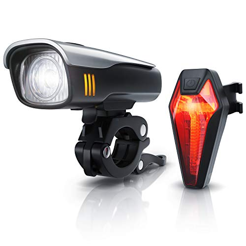CSL - LED Fahrradbeleuchtung Set StVZO - Akku Fahrradlampen-Set - Vorderlicht und Rücklicht - zugelassen