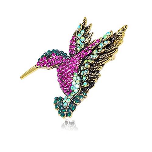 Broche de cristal vintage de colibrí para mujer, broche grande con diseño de animal, accesorios de moda para abrigo, joyería bonita, corsario, morado