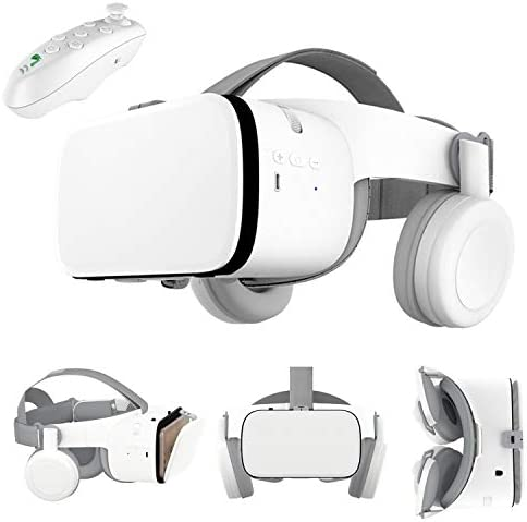 3D VR Virtual Reality Headset, VR Glasses Goggles w/ Bluetooth Headphone [Newest] for iPhone 12 11 Pro Max Mini X R S 8 7 Samsung Galaxy S10 S9 S8 S7 Edge Note/A 10 9 8 + etc 4.7-6.2″ Cellphone, White