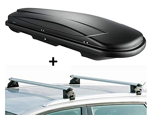 VDP Dachbox VDPJUXT400 400Ltr schwarz abschließbar + Dachträger CRV107A kompatibel mit Audi Q7 (4L) (5 Türer) 2006-2015
