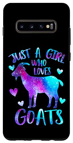 Galaxy S10+ Just a Girl who loves Goats Cute Goat Farmer Galaxy Space Case