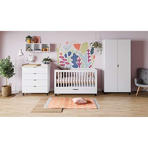 Chambre complète lit évolutif 70x140 - commode à langer - armoire 2 portes Simple - Blanc