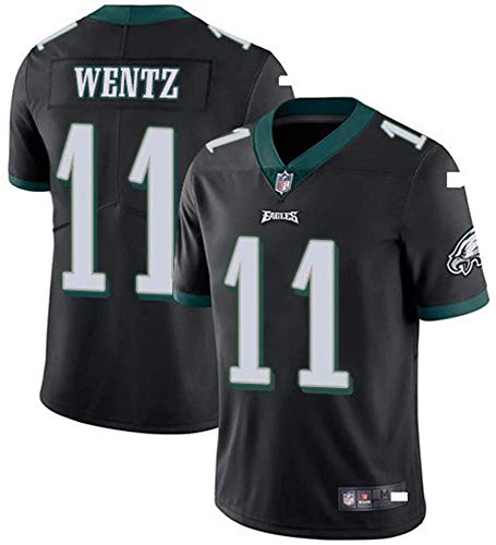 Majestic NFL Football Philadelphia Eagles 11# Wentz T-Shirt Jersey Bequem Und Atmungsaktiv Trikot,American Football Shirt,Black-XXL