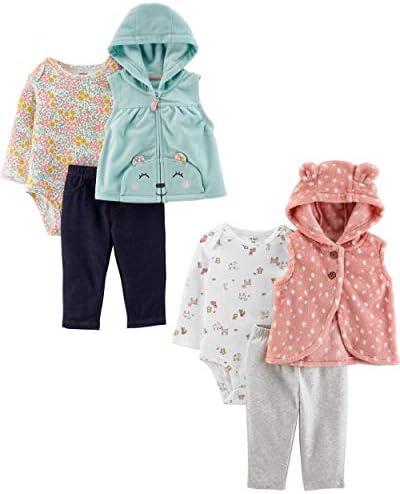 Carter s baby girls 2 pack 3 piece Set Fleece Vest Pink Bunny Blue Bear 18 Months US product image
