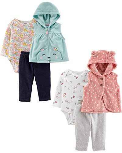 Carter's Conjunto de Chaleco de 3 Piezas para niñas, Pink Bunny/Blue Bear, 12 Meses
