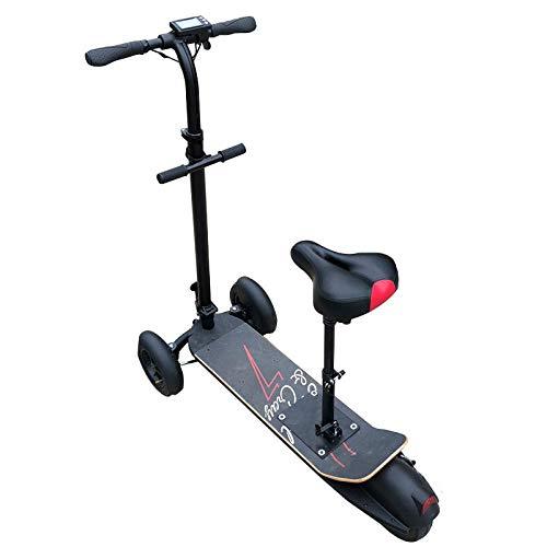 hdfj12147 Triciclo eléctrico de 3 Ruedas, Scooter eléctrico Genial, monopatín eléctrico Plegable de 8 Pulgadas 500W 48V para Adultos, Longboard con Asiento