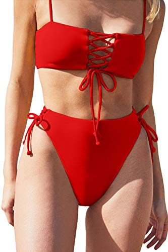 QINSEN Two Piece Swimsuit Sexy Women's Sexy Lace Up Bandeau High Waisted Two Piece Bikini Set Swimsuit Red L