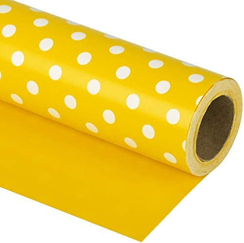 WRAPAHOLIC Reversible Wrapping Paper Yellow and Polka Dot Design for Birthday Holiday Wedding product image