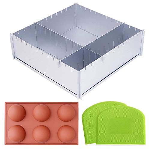 Adjustable Cake Tin Pan Baking Tray - Deep Foldaway 12' Square Shape Multi Size Cake Mold with Scrapers - A Hot Chocolate Bomb Mold Included