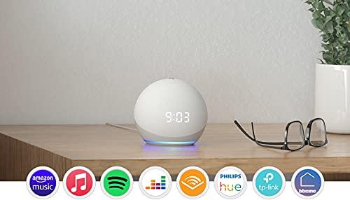 Echo Dot (4ª generazione) - Altoparlante intelligente con orologio e Alexa - Bianco ghiaccio