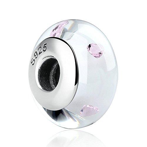 Lily Jewelry bianco vetro di Murano rosa a forma di cuore, in argento Sterling 925, adatto per Pandora braccialetti europei