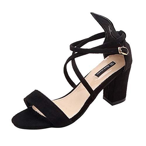 VJGOAL Moda de Verano para Mujer Sandalias de tacón Alto Casual Color sólido Hebilla de la Correa del Dedo del pie Punta Abierta Punta Redonda Zapatos de Tacones Altos