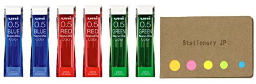 Uni NanoDia Color Mechanical Pencil Leads, 0.5mm, 3 Color(Blue/Red/Green), 6-Pack/total 120 Leads, Sticky Notes Value Set