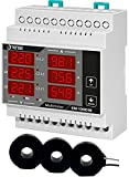Tense Elektronik EM-100DIN - Multímetro para medición de corriente (1A-100A), tensión y frecuencia en redes trifásicas - carril DIN digital