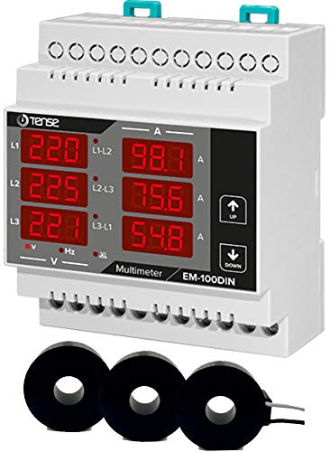 Tense EM-100DIN Einbaumessgerät Multimeter zur Messung von Strom (1A-100A), Spannung und Frequenz in 3-Phasigen Netzwerken - DIN-Schiene Hutschiene digital