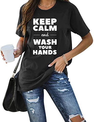 Blooming Jelly Womens Graphic Tee Top Crew Neck Casual Shirts Wash Your Hands Tshirts (Small, Black)