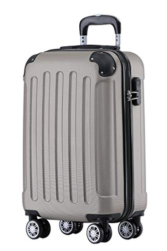 BEIBYE Hartschalen-Koffer Trolley Rollkoffer Reisekoffer Handgepäck 4 Rollen (M-L-XL-Set) (Champagner, M)
